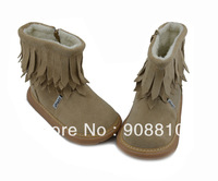 Hot!!children soft leather suede snow boots with tassel for winter, zip closure girls new arrival free shipping retail wholesale