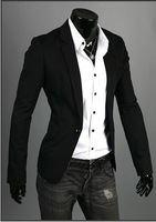 New Hot Man's Fashion One Button Slim fitted Jacket Bussiness Men's Black  Dress Suits Blazers Outerwear