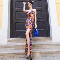 On sale! Fashion print xiaxin high vent slim tube top dress one-piece dress formal dress full dress