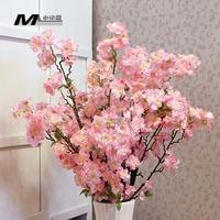 High artificial flower silk flower bountyless home floor long peach blossom sakura artificial flowers chiffon flower