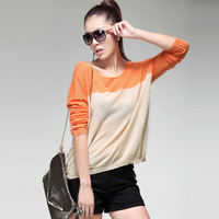 Autumn new arrival 2013 basic colorant match shirt women's long-sleeve top batwing sleeve casual wool sweater