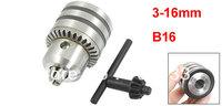Black Silver Tone 3-16mm Capacity B16 Mount Key Type Drill Chuck