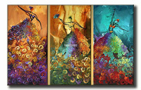 3 Piece Wall Art Peacock Abstract Dancers Dance Large Cheap Oil Painting On Canvas For Home Decoration Artwork Picture