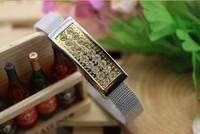 S71 Free Shipping 4GB 8GB 16GB 32GB 64GB Full Capacity Crystal Gold Watch Band Key USB 2.0 Memory Flash Pen Drive Car/Thumb/Pen