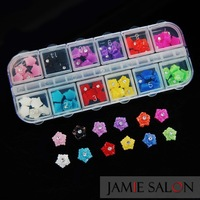 New 60pcs 3D Flower Resin Nail Art Flatback Beads With Rhinestone DIY Decoration Jewelry 12 Colors Free Shipping