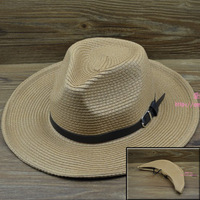 Folding outdoor male big strawhat sun-shading hat summer hat for man big strawhat fedoras men hat free shipping