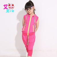 Shote 2013 summer zipper sweater child set summer sleeveless top harem pants
