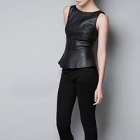 High Street Fashion Beautiful Sleeveless Women Leather Vest Tops 2013 New
