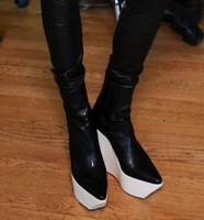 New arrival 2014 platform wedges pointed toe boots damir doma