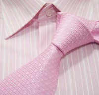Men's neckties,business ties,100%silk shirts ties,pink tie with checks,m021