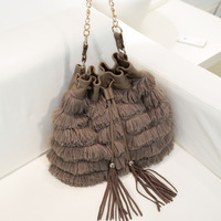 New&Hot ! 2013 spring bag plush the chain tassel bucket one shoulder cross-body women's handbag bag
