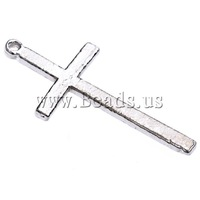 Free shipping!!!Zinc Alloy Cross Pendants,Bulk Jewelry, antique silver color plated, nickel, lead & cadmium free, 35x17x1.80mm