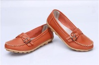 FREE SHIPPING! 2014 New Arrival Fashion round Toe cow muscle Flats ,all-match genuine leather women shoes size 4-10