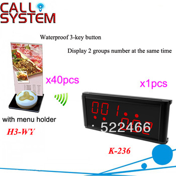Table Service Bell System K-236+H3-WY+H with 3-key call button and LED display for restaurant service DHL free shipping