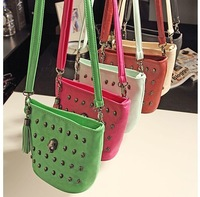 Free shipping ,2013 women's vintage handbag, diamond skull one shoulder cross-body women's candy color handbag