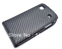 Carbon fiber pattern Leather Case for Samsung Galaxy S1 i9000 free for screen protector