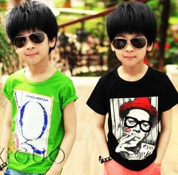 Children's clothing male female child 2013 summer small child summer cotton short-sleeve 100% T-shirt q the cigarette