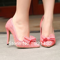 J621-7 Chic Cute Bowtie Pointed Toe Transparent Lace High-heeled Pumps Black/Pink/Beige