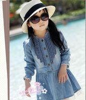 Fashion Girls's Cute Denim Dress Blue Beautiful Lace A-line princess Casual  dress Free shipping