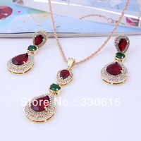 whole sale rhinestone Dubai African18K Gold Plated Necklace Set Fashion Wedding Bridal Jewelry set