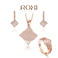 Fashion jewelry sets 18k gold plated 08080042184  necklace+earrings+ring made with AAA zircon, lover's gift