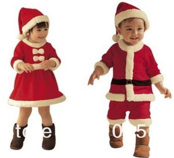 Free Shipping!!Boy Christmas Xmas design clothing sets, Long Sleeves romper+hat 2 pcs sets, Baby Cute wear DRESS+HAT