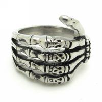 Gothic Skeleton Hand Bone Horrible Skull Stainless Steel Men's Finger Ring Punk Rock Jewelry