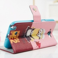 Free Shipping By SG/HK Post!!!2013 New Despicable ME Minion 10PCS/Lot Leather TPU Case Flip Cover For N7100 Note2