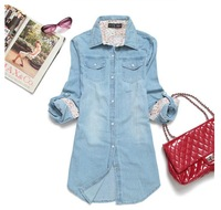Hot sales New autumn outfit 2013 ms pearl clasp long-sleeved women thin denim shirt shirt plus-size coat