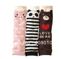 free shipping  whole sale 10pairs/lot Lovely children socks set child kneepad brown bear stripe pink pig