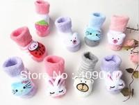 free shipping 5pairs/lot  Newborn socks baby socks cartoon doll socks baby style socks three-dimensional autumn and winter