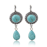 2014 Hot Sale Vintage Ears Accessories, Women's Antique Silver Plated Round Water Shaped Turquoise Dangle Drop Earrings