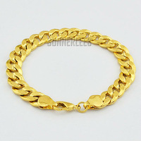 New Fashion Jewelry 9mm Mens Womens Frosted Curb Cuban Chain 18K Yellow Gold Filled Bracelet Gold Jewellery Free Shipping GFB81