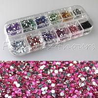 New Wholesales 10packs/lot 3600pcs 12 Mixed Colors 2mm Round Nail Art Rhinestones Decoration Glitter Nail Art Gems