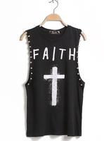 Fashion brand designer Fashion street cross letter print tie-dyeing rivets sleeveless vest t-shirt basic shirt female summer