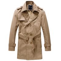 Free Shipping New Stylish Men's Trench Coat Winter Jacket Double Breasted Overcoat Black Khaki M-XXL CF01