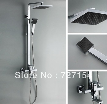 "Free shipping! Chrome Polished 8"" Rainfall Shower Faucet Set Bathtub Mixer Tap Shower"