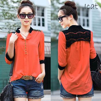 Women Three Quarter Sleeve Shirt Lace Trim Tops Blouse High low Hem Patchwork Plus ...