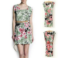 2013 HOT SALE ELEGANT RETRO FLOWERS GREEN LEAVES PRINTED CREW NECK SLEEVELESS DRESS WITH BELT WF-4280