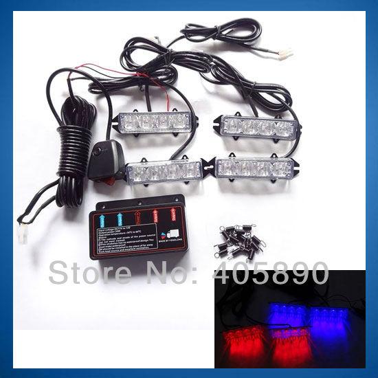 Red&Blue High Power Strobe Light 4LED X 4 12v Car Universal LED Flash Blinking Light 159B-4(China (Mainland))