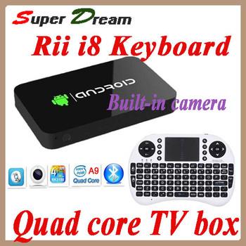 2pcs=1pcs Rii i8 keyboard+1pcs MK812A MK802 IV RK3188 Quad Core 1.6Ghz Mini PC Android Camera Dongle XBMC Google TV Box Stick