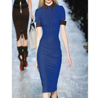 WOMEN LAPEL PACKAGE HIP SLIM SHORT SLEEVED DRESS WITH BELT WF-4090