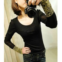 HOT!WOMEN GOLD LACE CUFF STITCHING GAUZE BOTTOMING SHIRT TOP WF-3957