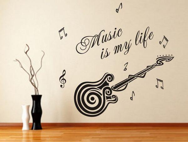 Free shipping removable wallpaper stickers guitar for Immagini di murales e graffiti