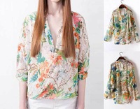 2013 WOMEN'S NEW BOUTIQUE CROSS PLACKET LAPEL LOOSE MULTI-COLOR PRINTING CHIFFON SHIRT WF-4291
