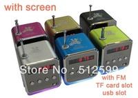 Wholesale 150pcs/lot Mini TD-V26 Digital Speaker support TFcard U disk with FM screen colorful light Portable audio player Pink