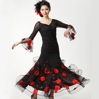 Modern dance set quality three-dimensional embroidered expansion skirt dress ballroom dancing costume