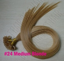 "Best #24 Medium Blonde Pre Bonded Nail U Tip Keratin Glue 100% Remy Human Hair Extensions 100S 16""-24""(China (Mainland))"