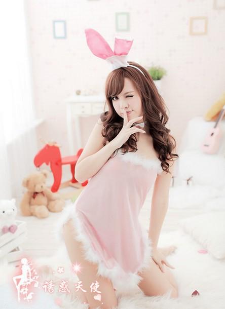 Free shipping wholesale woman sex rabbit costumes latex catsuit women sexy women costume(China (Mainland))