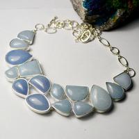 High Quatlity Fashion Bohemian Natural Stone Sterling Silver Bijou Sapphire Chevron Chocker Necklace Jewelry x3617